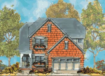 Shingle Style Home Design Plan: 10-1123