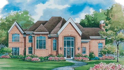European Style Home Design Plan: 10-1139