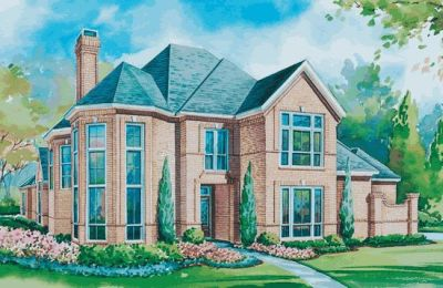 European Style Home Design Plan: 10-1148