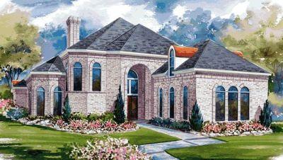 European Style Home Design Plan: 10-1171