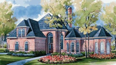 European Style Home Design Plan: 10-1174