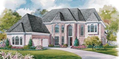 European Style Home Design Plan: 10-1175