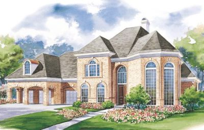 European Style Home Design Plan: 10-1184