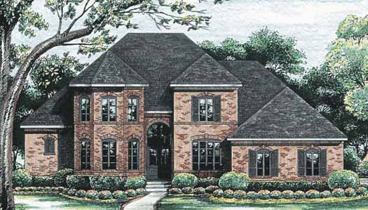 European Style Home Design Plan: 10-1192