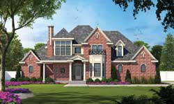 French-Country Style Home Design Plan: 10-1197