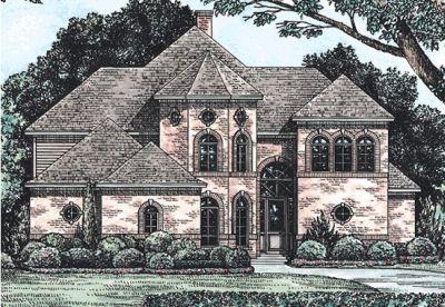 European Style Home Design Plan: 10-1210
