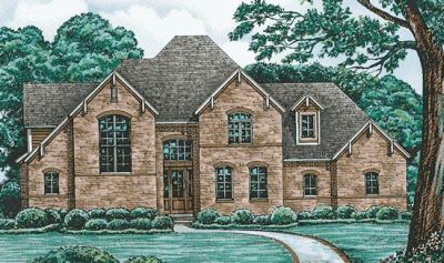 English-country Style Home Design Plan: 10-1212