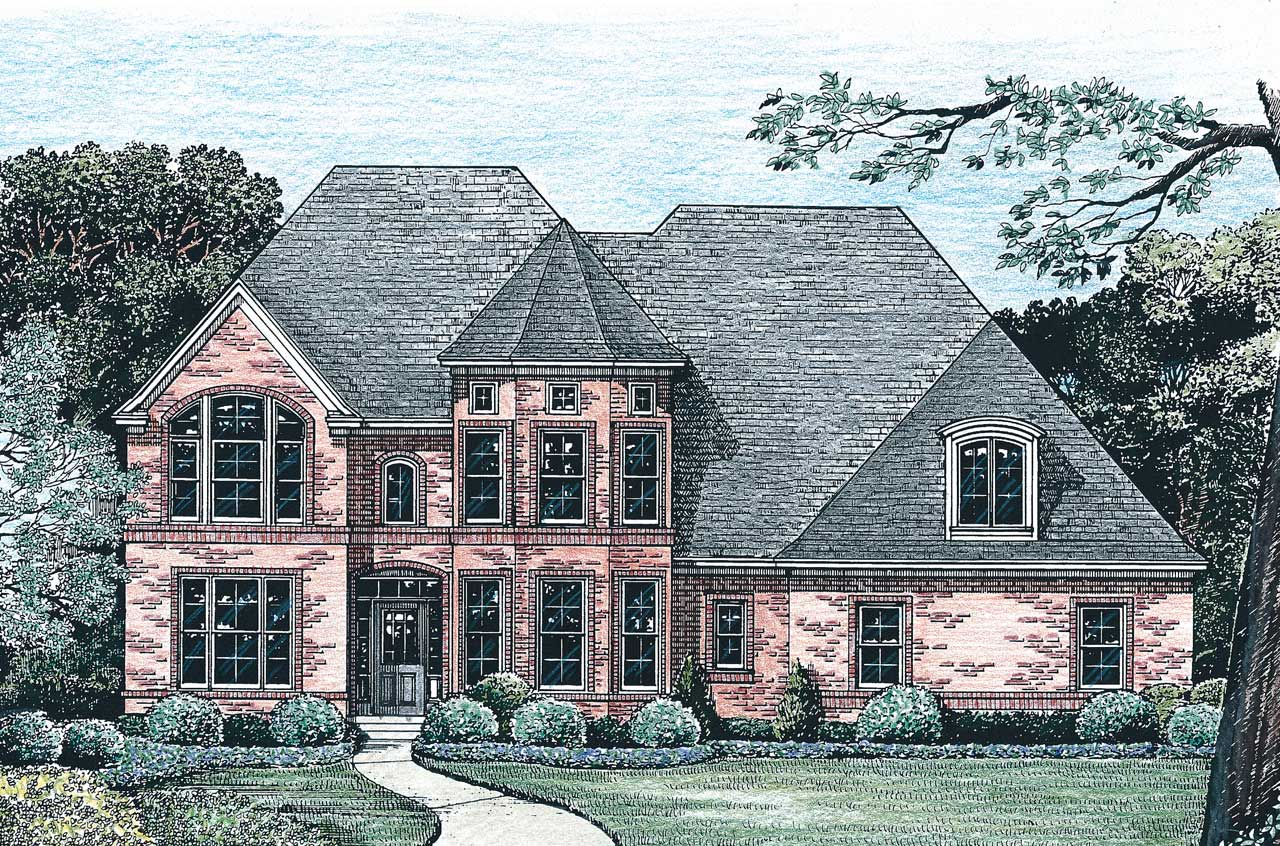 European Style Home Design Plan: 10-1228