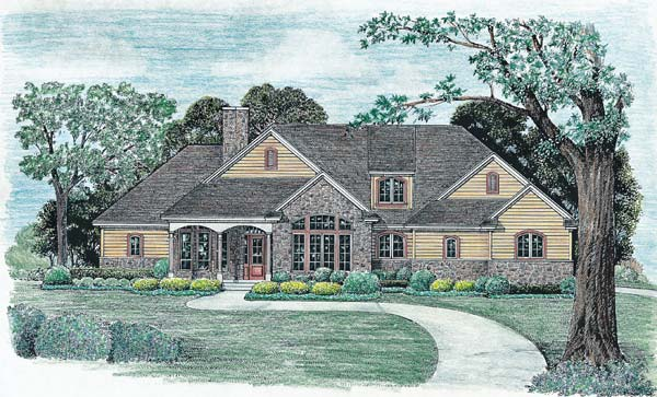 Country Style Home Design Plan: 10-1238