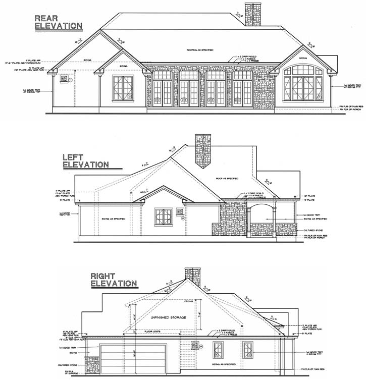 Rear Elevation Plan: 10-1238