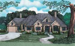 French-Country Style Home Design Plan: 10-1239