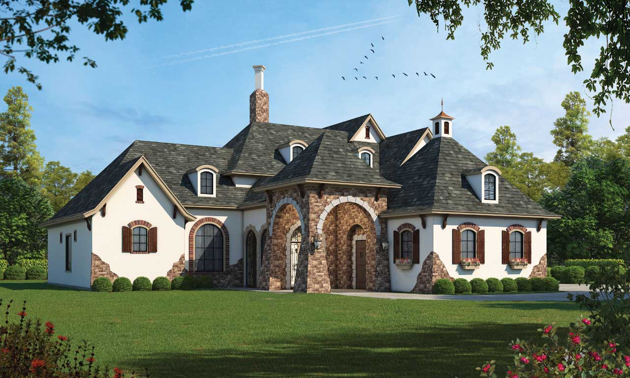 European Style Home Design Plan: 10-1278