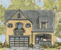 French-Country Style Home Design Plan: 10-1321