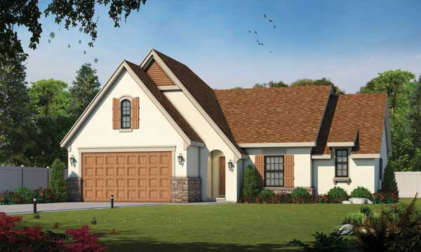 French-country Style Home Design Plan: 10-1338