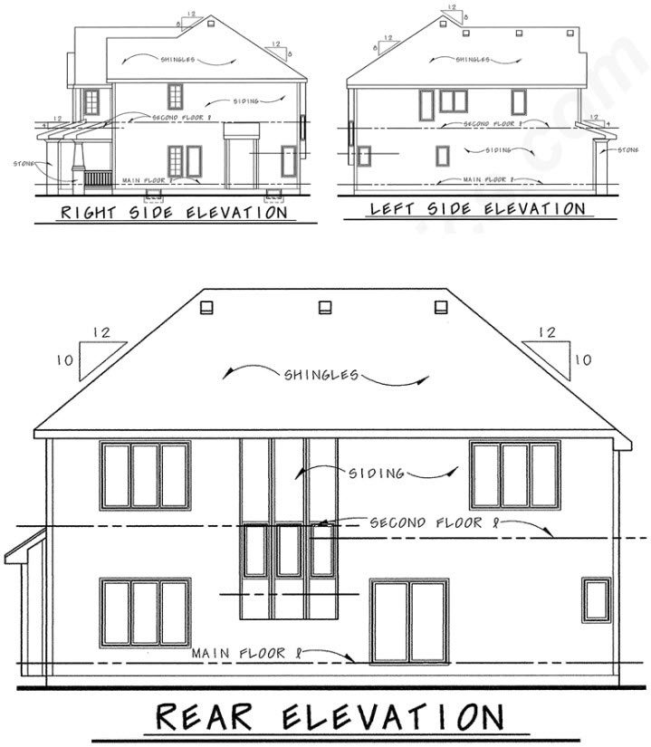 Rear Elevation Plan: 10-1355