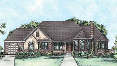 French-country Style Home Design Plan: 10-1365