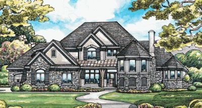 French-country Style Home Design Plan: 10-1368