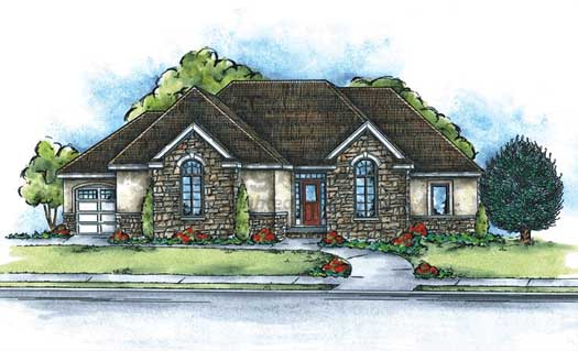 French-country Style House Plans Plan: 10-1384