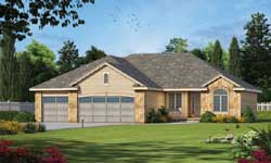 French-Country Style Home Design Plan: 10-1393