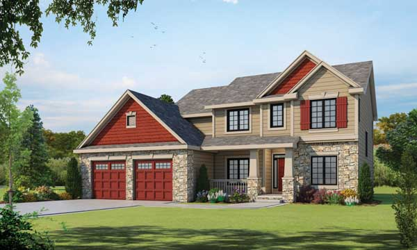 Craftsman Style Home Design Plan: 10-1397