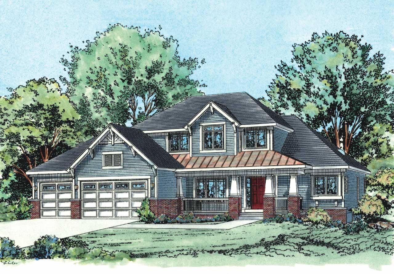 Craftsman Style Home Design Plan: 10-1437