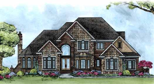 European Style Home Design Plan: 10-1439