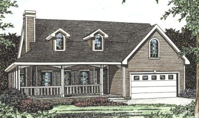 Farm Style Home Design Plan: 10-1444