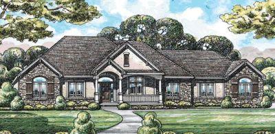 European Style Home Design Plan: 10-1451