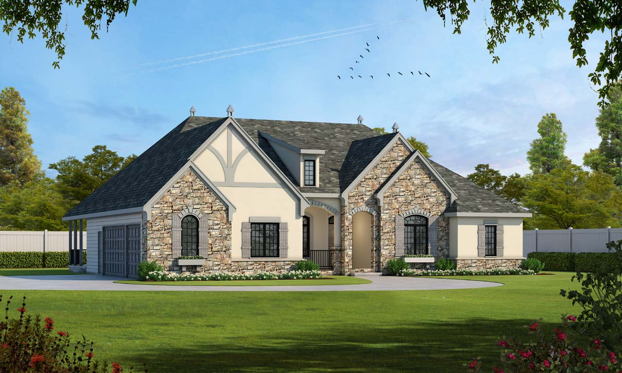 French-country Style Home Design Plan: 10-1454