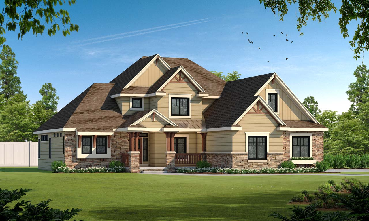 French-country Style Home Design Plan: 10-1455