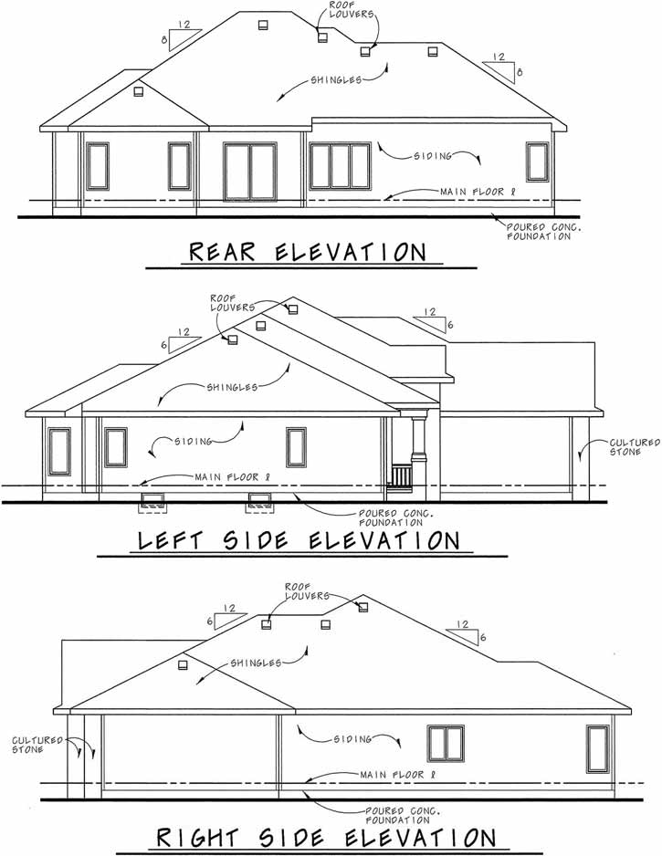 Rear Elevation Plan: 10-1458