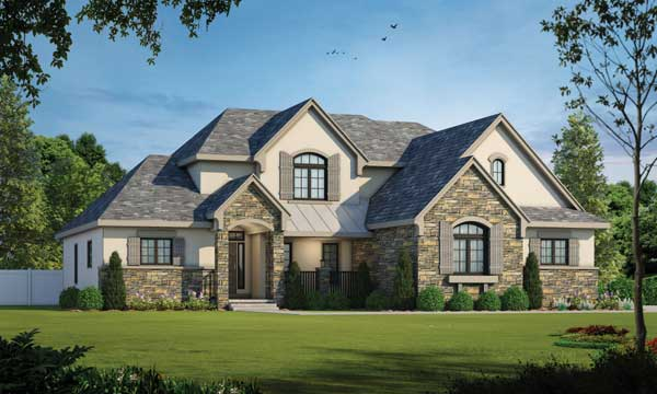 French-country Style Home Design Plan: 10-1464