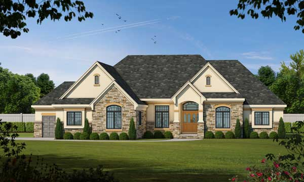 French-country Style Home Design Plan: 10-1466