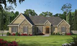 French-Country Style Home Design Plan: 10-1469