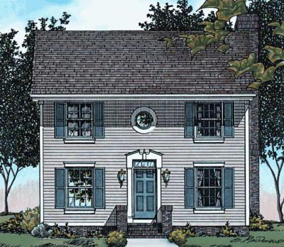 Early-american Style Home Design Plan: 10-1519