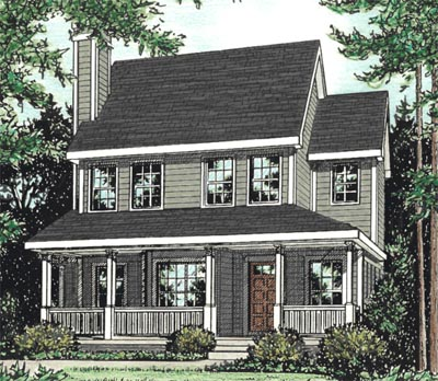 Country Style Home Design Plan: 10-1532