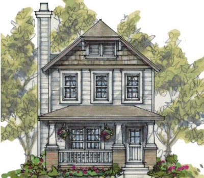 Craftsman Style Home Design Plan: 10-1589