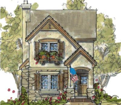 French-country Style Floor Plans Plan: 10-1596