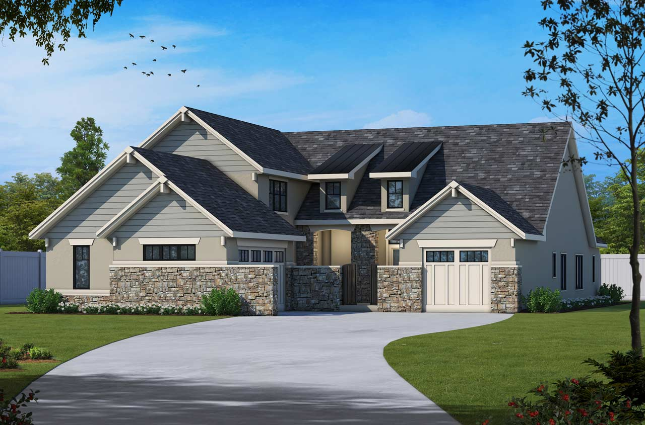 French-country Style Floor Plans Plan: 10-1638