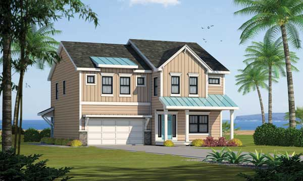 Coastal Style House Plans Plan: 10-1836