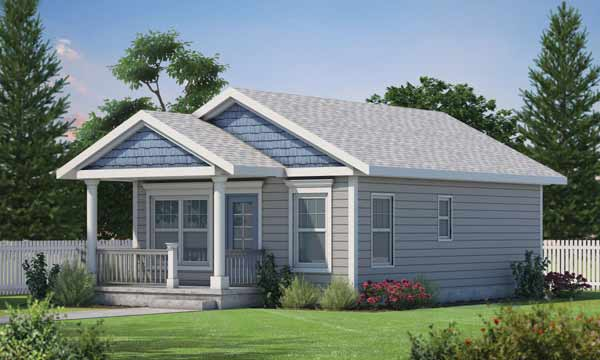Cottage Style Home Design Plan: 10-1884