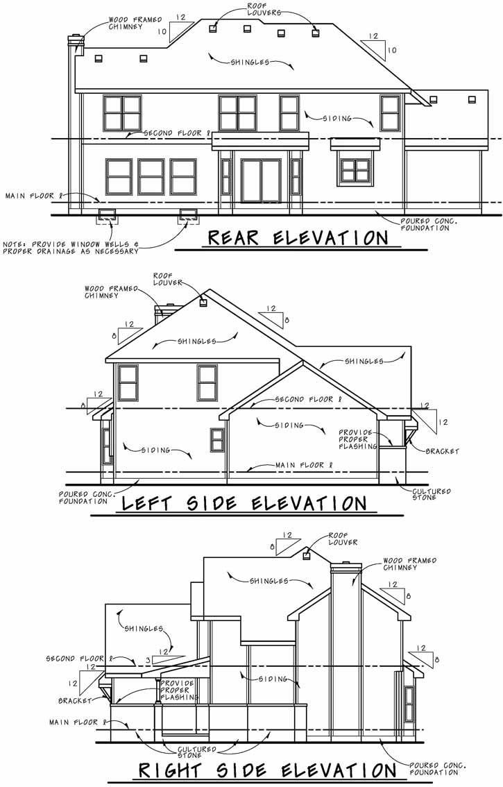 Rear Elevation Plan: 10-1885