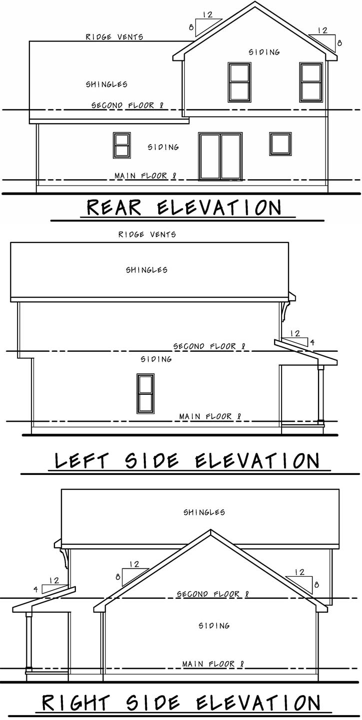 Rear Elevation Plan: 10-1908