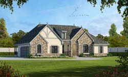 French-Country Style Home Design Plan: 10-1911