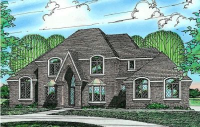 European Style Home Design Plan: 10-210