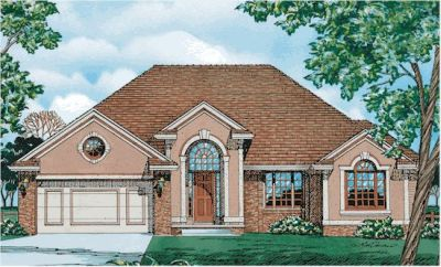 European Style Home Design Plan: 10-288