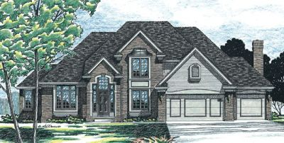 European Style Home Design Plan: 10-299