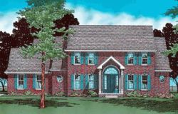 Early-American Style Home Design Plan: 10-365