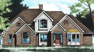 European Style Home Design Plan: 10-379