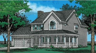 Country Style Home Design Plan: 10-389